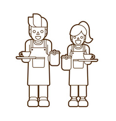 coffee serve barista cartoon graphic vector image