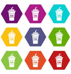 cola plastic glass icons set 9 vector image