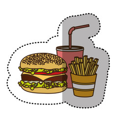 Color hamburger soda and fries french icon vector
