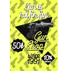 Color vintage guns shop poster vector
