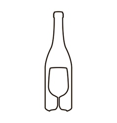 contour bottle wine and goblet vector image