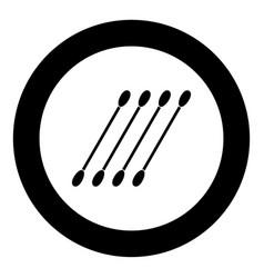 Cotton swabs icon black color in circle vector