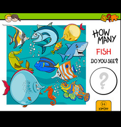 Counting fish educational activity game vector