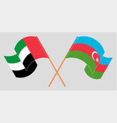 Crossed and waving flags azerbaijan vector