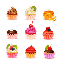 Cupcakes assortment set vector