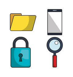 Cyber security system icon vector