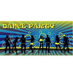 Dance party ticket blue vector image
