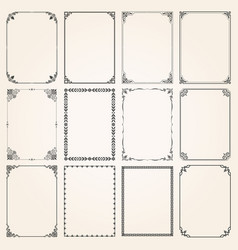 decorative frames and borders rectangle set 5 vector image