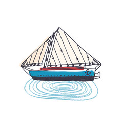 doodle drawing of elegant ship sailing boat or vector image