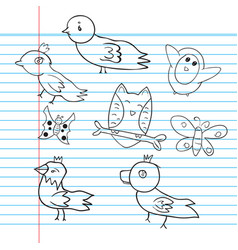 drawings animal bird on paper vector image