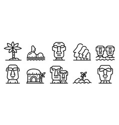 Easter island icons set outline style vector