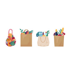 eco string cotton cloth and paper bag food set vector image