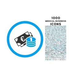 Euro Money Rounded Icon with 1000 Bonus Icons vector image