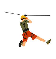 extreme sportsman zip line in adventure park vector image