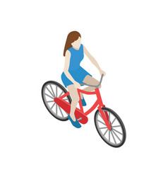 Female cyclist riding on a bicycle flat 3d vector
