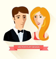 Festively dressed couple Flat design vector