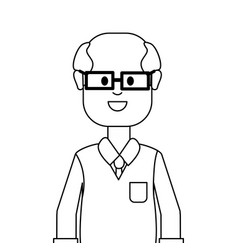Figure people man with casual cloth with glasses vector