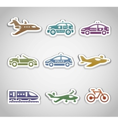 flat retro color stickers - Set one vector image