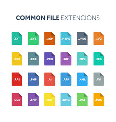 flat style icon set systemcommon file type vector image