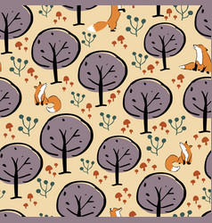 fox forest seamless pattern design vector image