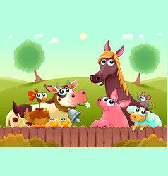 funny farm animals smiling near fence vector image