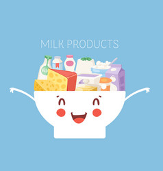 Funny kawaii milk products in cute bowl poster vector
