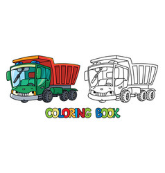 Funny small dump truck with eyes coloring book vector