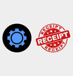 gear icon and grunge receipt stamp vector image