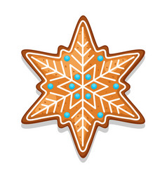 Gingerbread cookies snowflake of vector