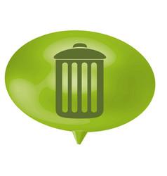 Green bubble can trash icon vector