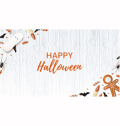 Halloween web banner with sweets vector