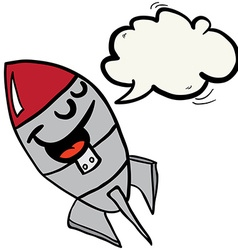 Happy rocket with speech bubble vector