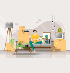 happy young man and his cat moving to new home vector image