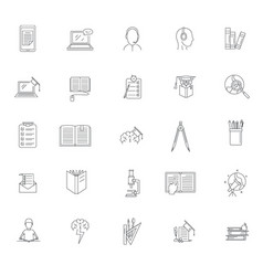 homework study school icons set outline style vector image