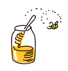 honey with wooden honey dipper simple sketch pen vector image