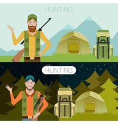 Hunting in the forest banner1 vector