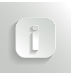Info icon - white app button vector image