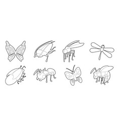 Insects icon set outline style vector
