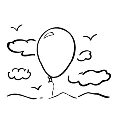 Isolated clouds birds and balloon design vector