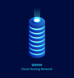 isometric cloud server isolated on blue data vector image