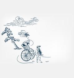 japanese rickshaw card chinese sketch design vector image