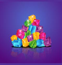 Jewels pile colored diamonds heap gems brilliant vector