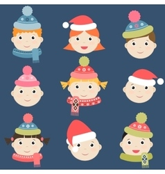Kids with winter clothing vector