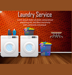 laundry service design with washing machines vector image