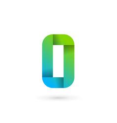 Letter o number 0 ribbon logo icon design vector
