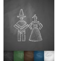 Mexican couple icon Hand drawn vector