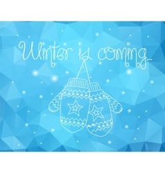 Mittens On Winter Sparkles Abstract Background vector image