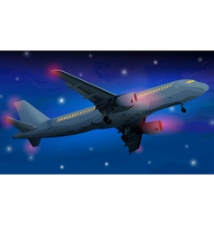 Modern airplane at night vector image