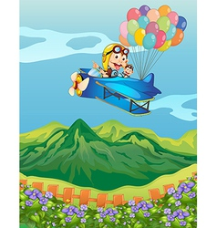 Monkeys on a plane with balloons vector