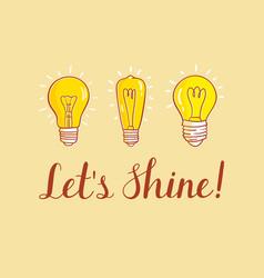 Motivation card with lightbulbs set lightbulbs vector